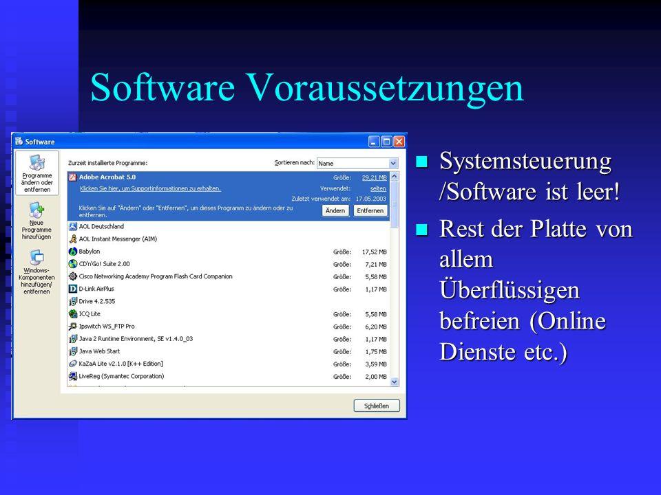Software Voraussetzungen
