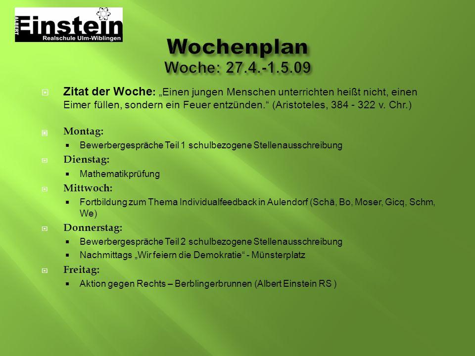 WochenplanWoche: 27.4.-1.5.09.