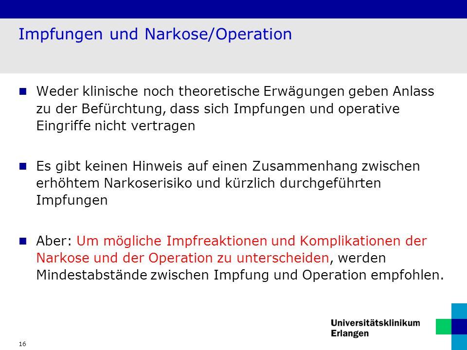 Impfungen und Narkose/Operation