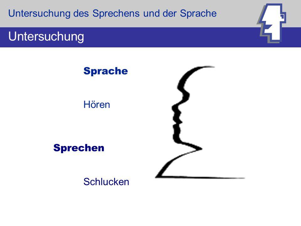 Untersuchung Untersuchung des Sprechens und der Sprache Hören Sprechen