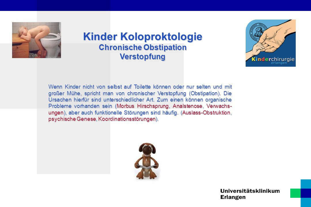 Kinder Koloproktologie Chronische Obstipation