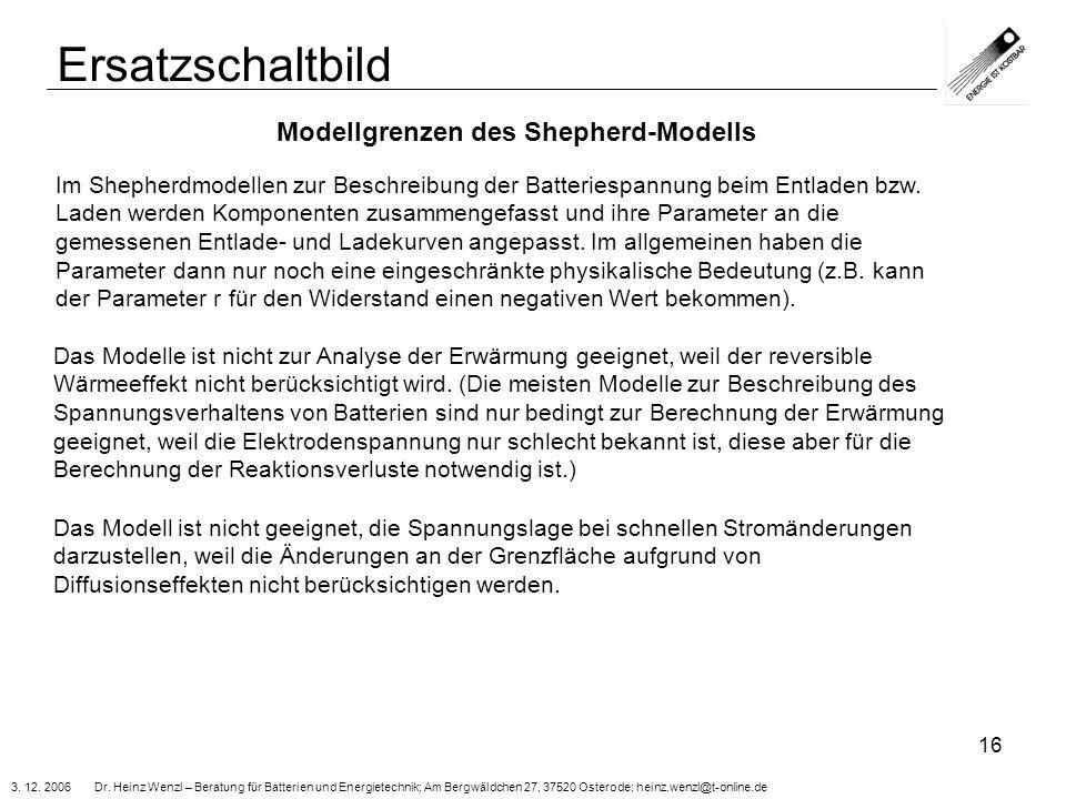 Ersatzschaltbild Modellgrenzen des Shepherd-Modells