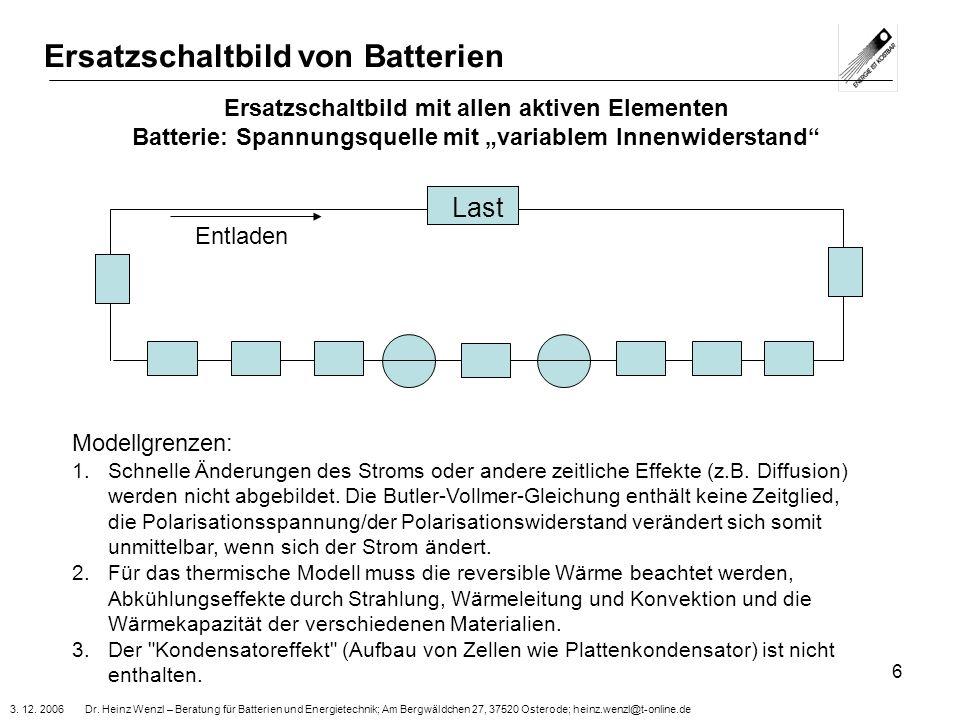 Ersatzschaltbild von Batterien