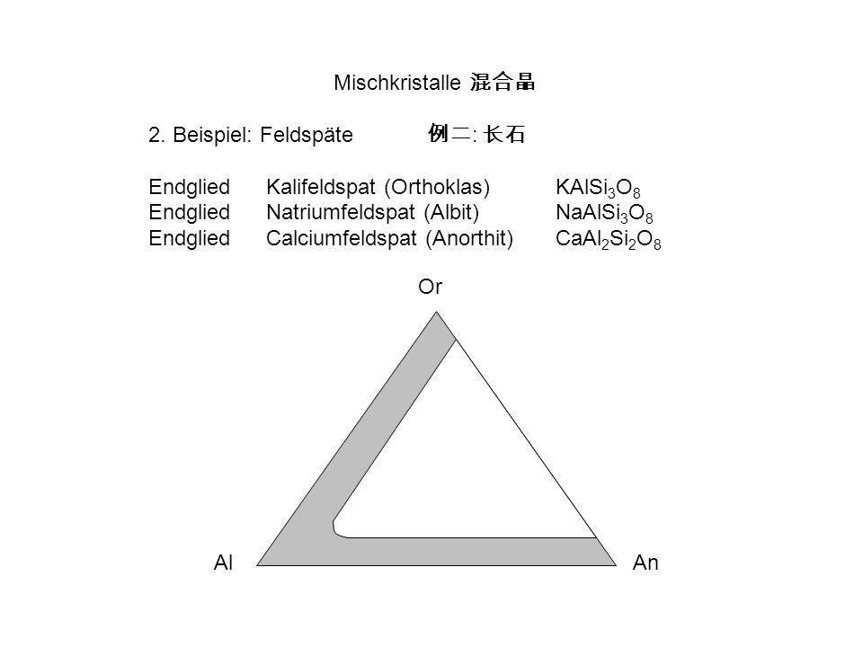 Mischkristalle 混合晶 2. Beispiel: Feldspäte 例二: 长石. Endglied Kalifeldspat (Orthoklas) KAlSi3O8. Endglied Natriumfeldspat (Albit) NaAlSi3O8.