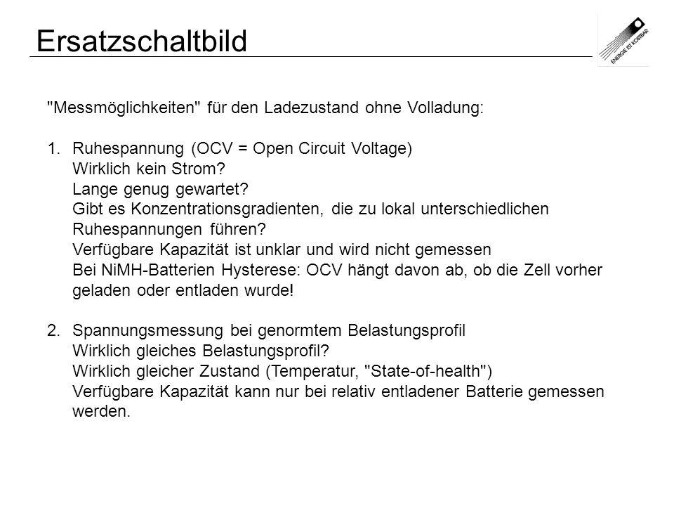 Ersatzschaltbild Messmöglichkeiten für den Ladezustand ohne Volladung: