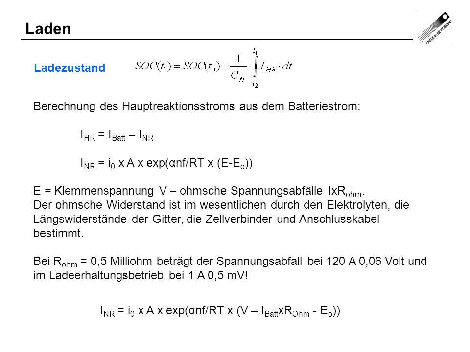 Laden Ladezustand. Berechnung des Hauptreaktionsstroms aus dem Batteriestrom: IHR = IBatt – INR. INR = i0 x A x exp(αnf/RT x (E-Eo))
