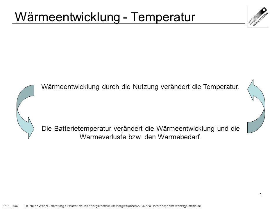 Wärmeentwicklung - Temperatur