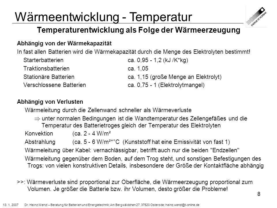 Temperaturentwicklung als Folge der Wärmeerzeugung