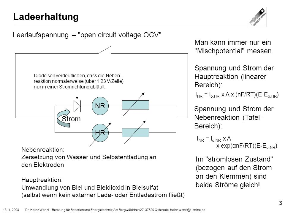 Ladeerhaltung Leerlaufspannung – open circuit voltage OCV