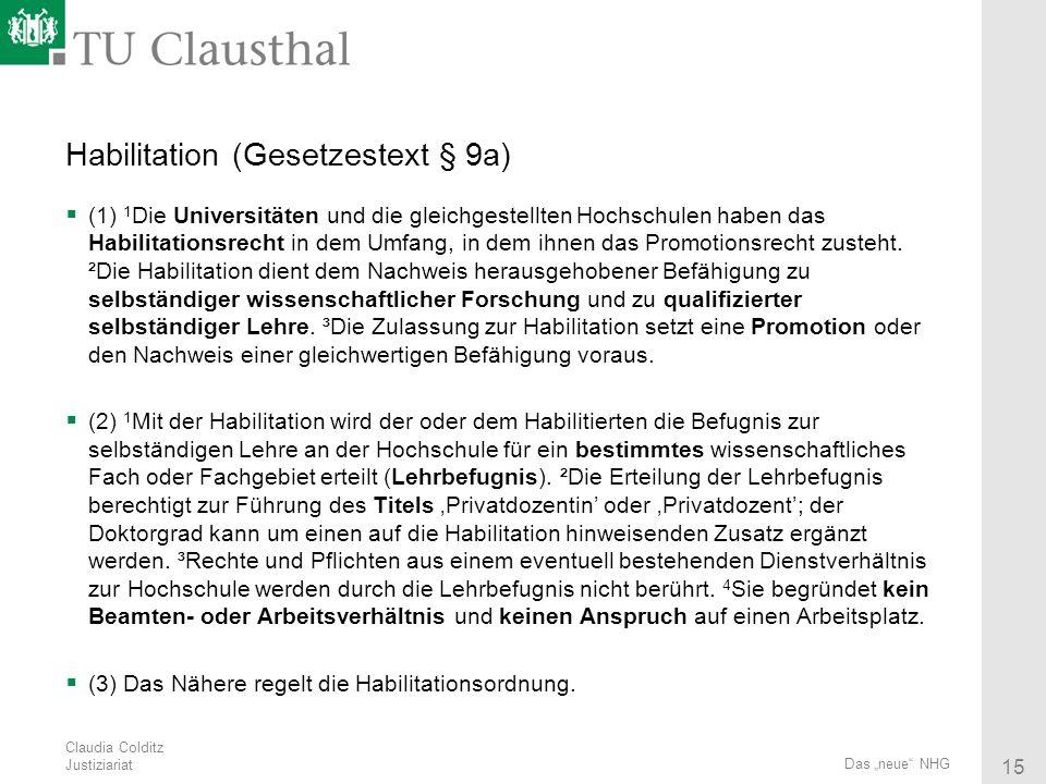 Habilitation (Gesetzestext § 9a)
