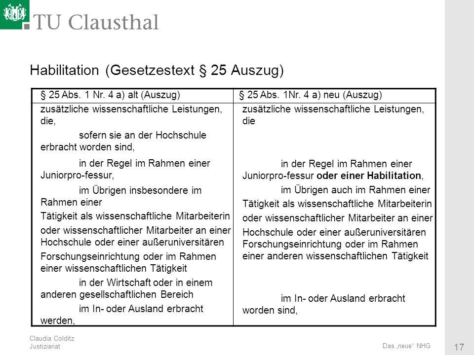 Habilitation (Gesetzestext § 25 Auszug)