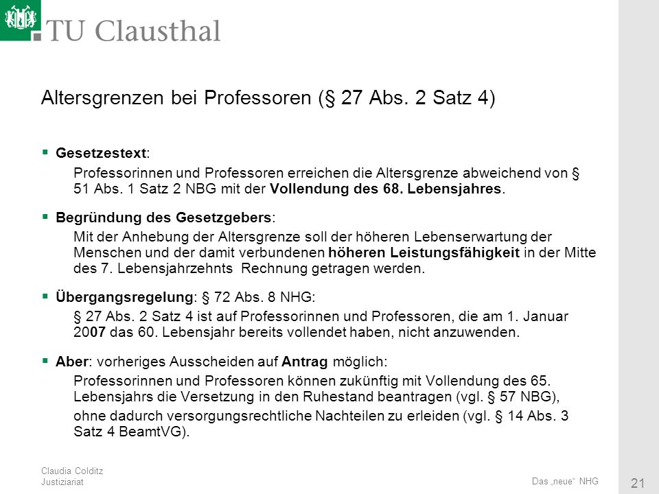 Altersgrenzen bei Professoren (§ 27 Abs. 2 Satz 4)