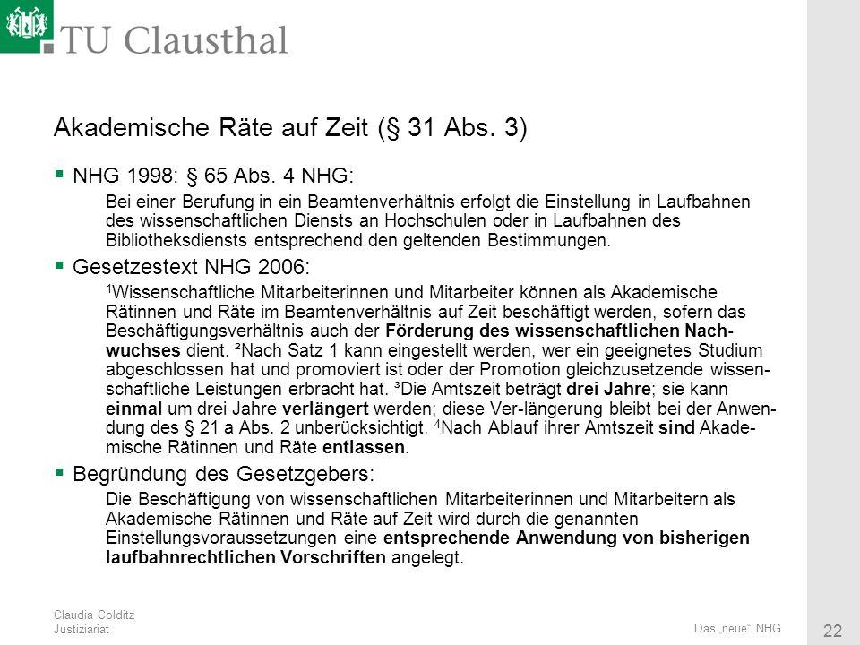 Akademische Räte auf Zeit (§ 31 Abs. 3)