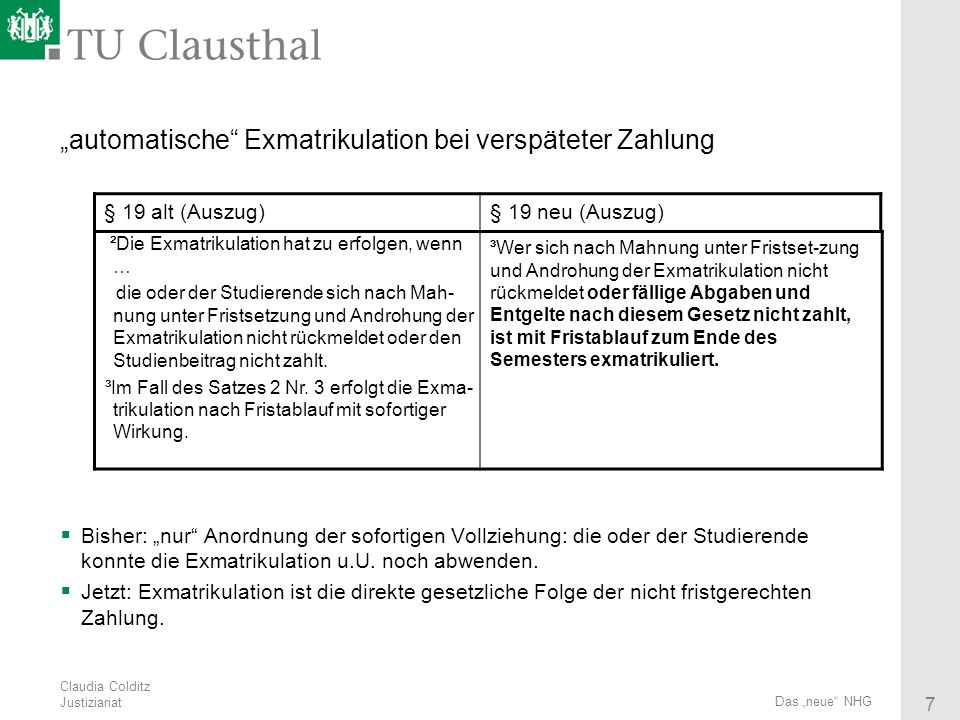 """""""automatische Exmatrikulation bei verspäteter Zahlung"""