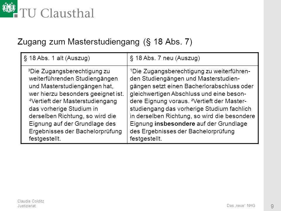 Zugang zum Masterstudiengang (§ 18 Abs. 7)