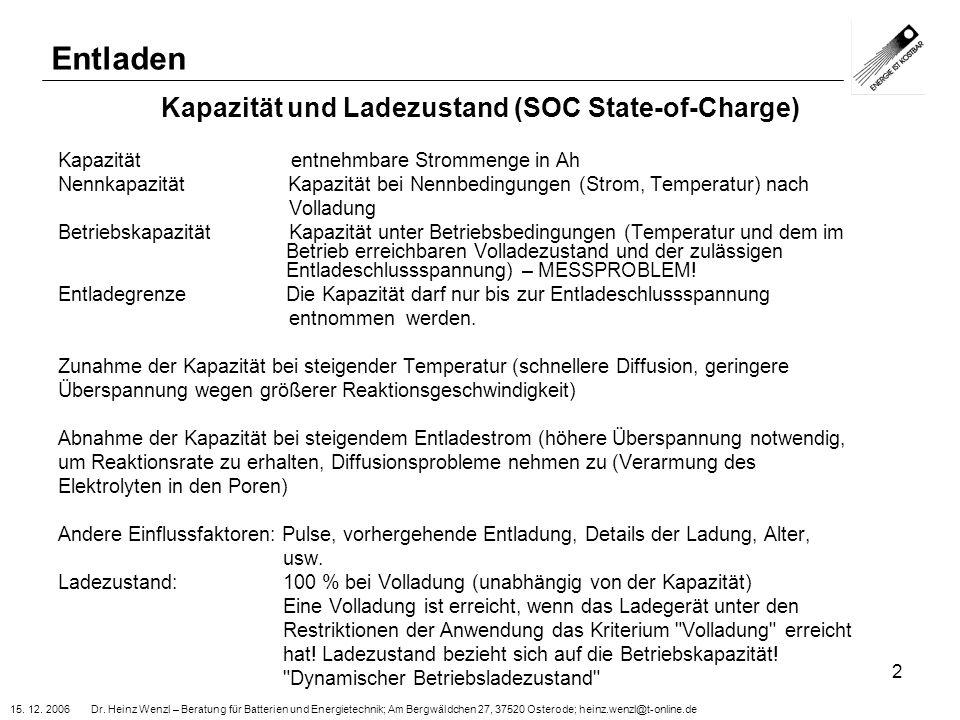 Kapazität und Ladezustand (SOC State-of-Charge)