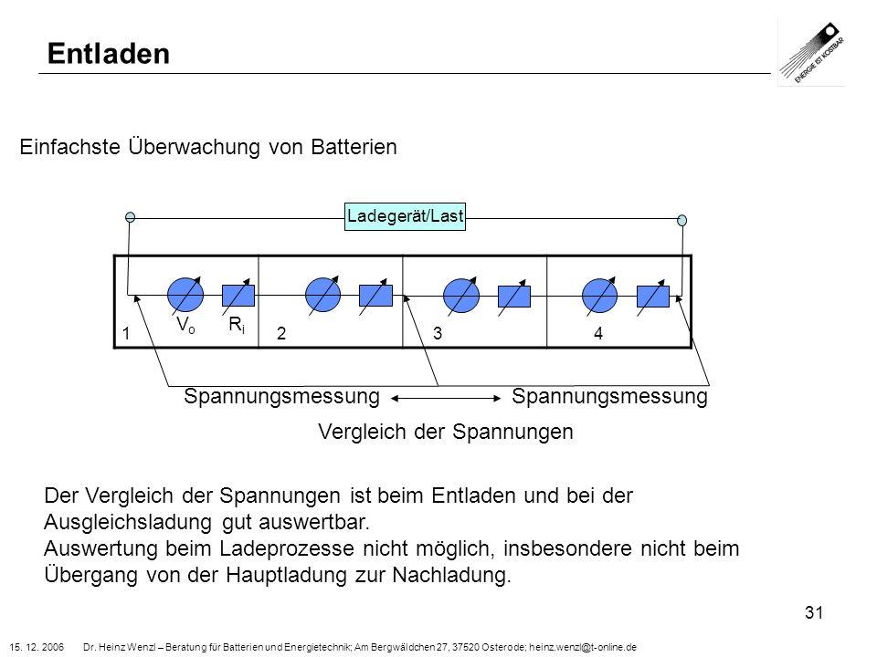 Entladen Einfachste Überwachung von Batterien Spannungsmessung