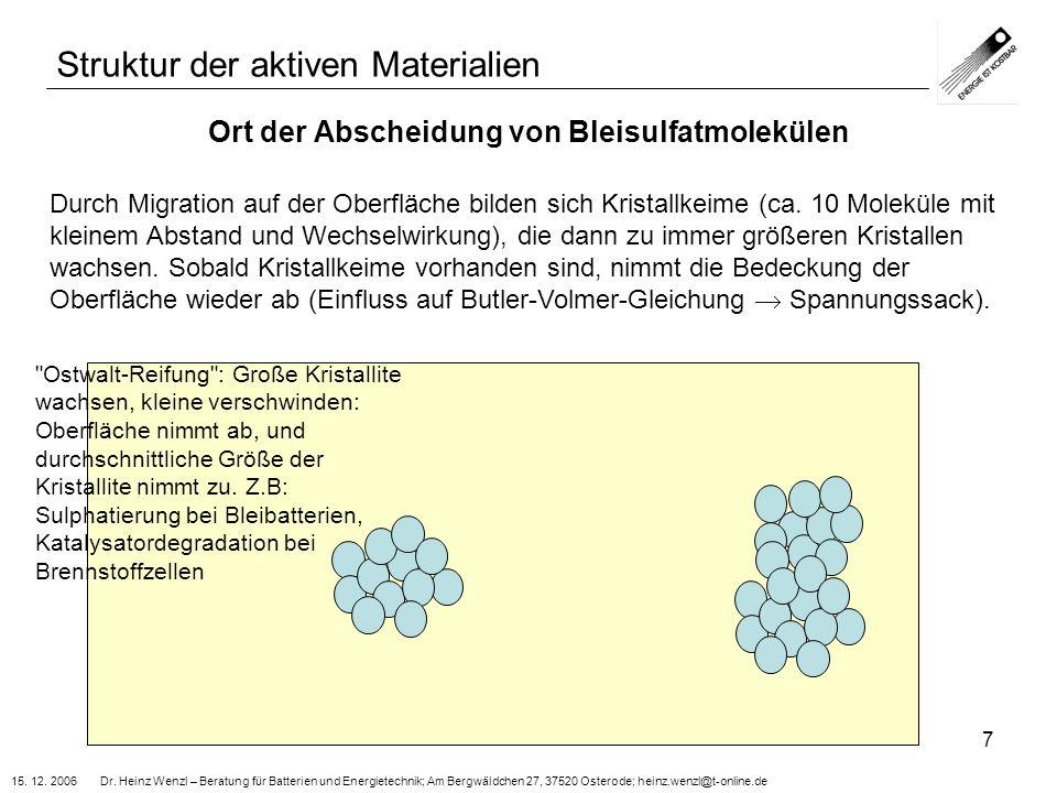 Ort der Abscheidung von Bleisulfatmolekülen