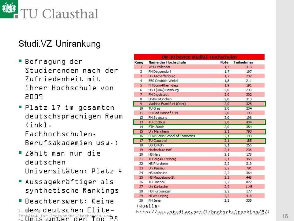 Studi.VZ Unirankung Befragung der Studierenden nach der Zufriedenheit mit ihrer Hochschule von 2009.