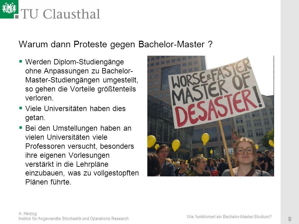 Warum dann Proteste gegen Bachelor-Master