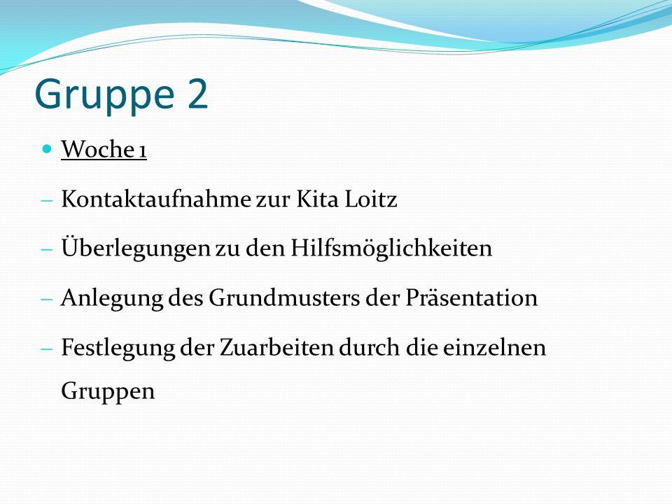 Gruppe 2 Woche 1 Kontaktaufnahme zur Kita Loitz