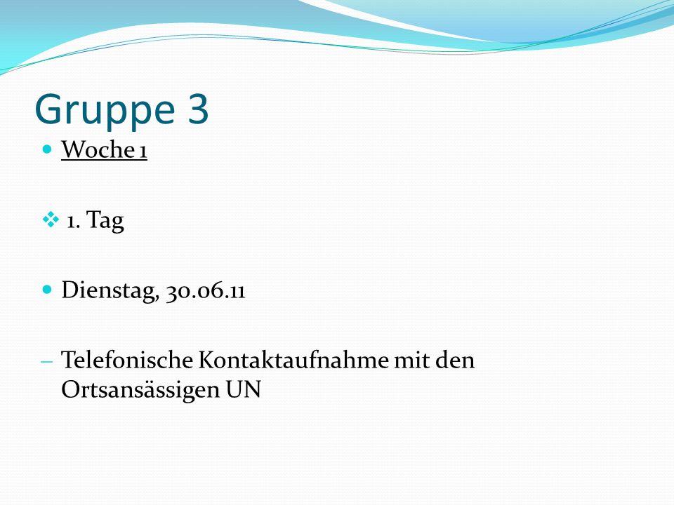 Gruppe 3 Woche 1 1. Tag Dienstag, 30.06.11