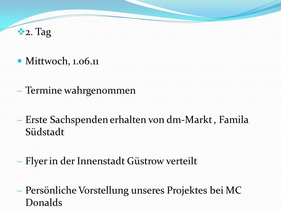 2. Tag Mittwoch, 1.06.11. Termine wahrgenommen. Erste Sachspenden erhalten von dm-Markt , Famila Südstadt.