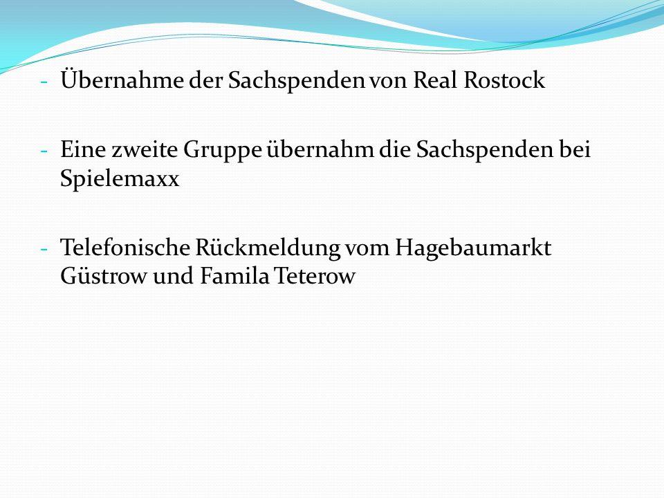 Übernahme der Sachspenden von Real Rostock