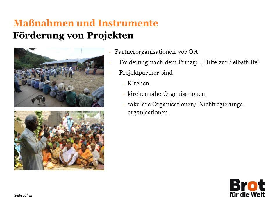 Maßnahmen und Instrumente Förderung von Projekten