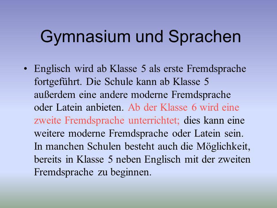 Gymnasium und Sprachen