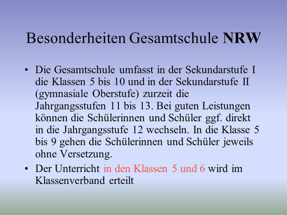 Besonderheiten Gesamtschule NRW