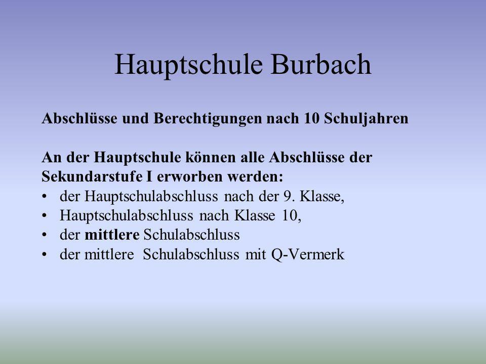 Hauptschule Burbach Abschlüsse und Berechtigungen nach 10 Schuljahren