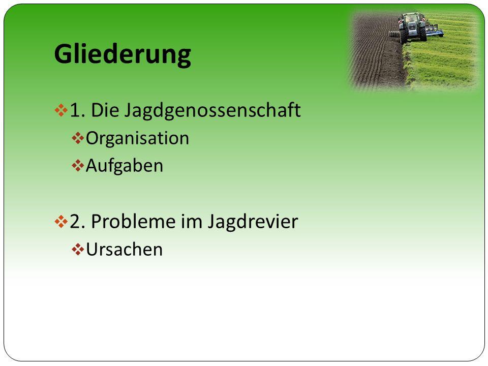 Gliederung 1. Die Jagdgenossenschaft 2. Probleme im Jagdrevier