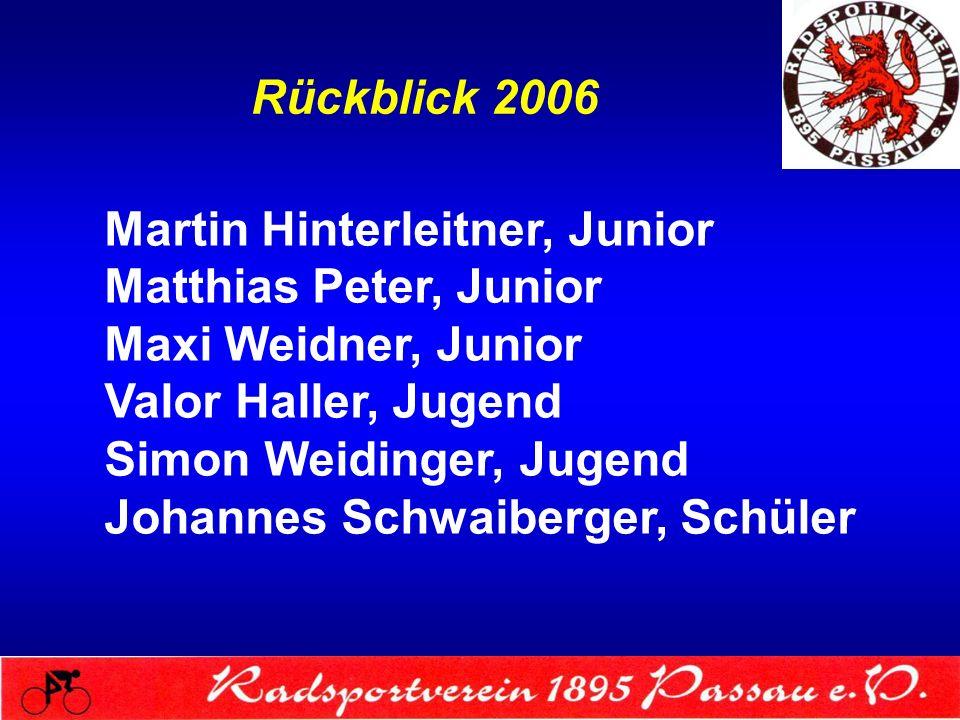 Rückblick 2006 Martin Hinterleitner, Junior. Matthias Peter, Junior. Maxi Weidner, Junior. Valor Haller, Jugend.
