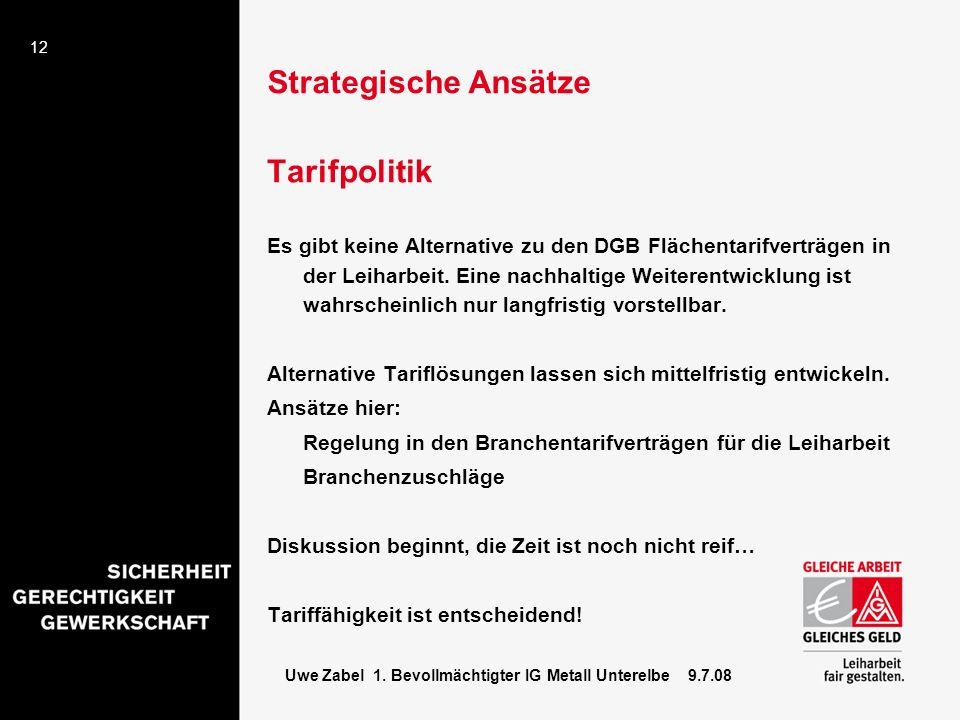 Strategische Ansätze Tarifpolitik