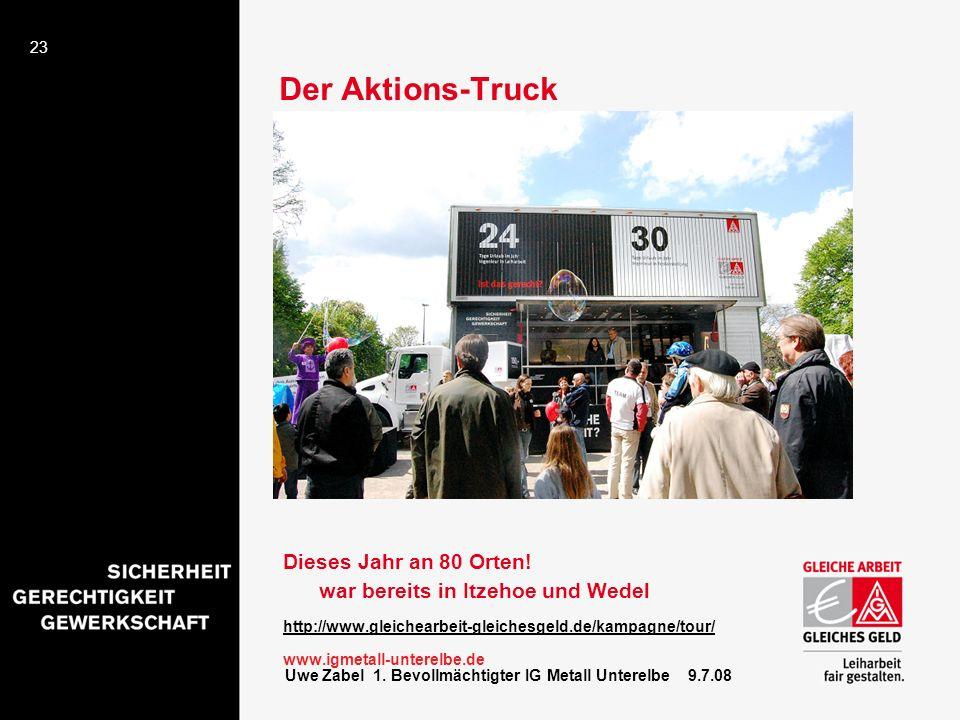 Der Aktions-Truck Dieses Jahr an 80 Orten! war bereits in Itzehoe und Wedel. http://www.gleichearbeit-gleichesgeld.de/kampagne/tour/