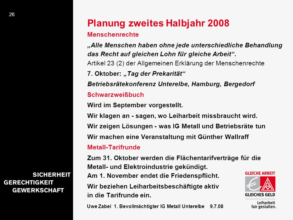 Planung zweites Halbjahr 2008