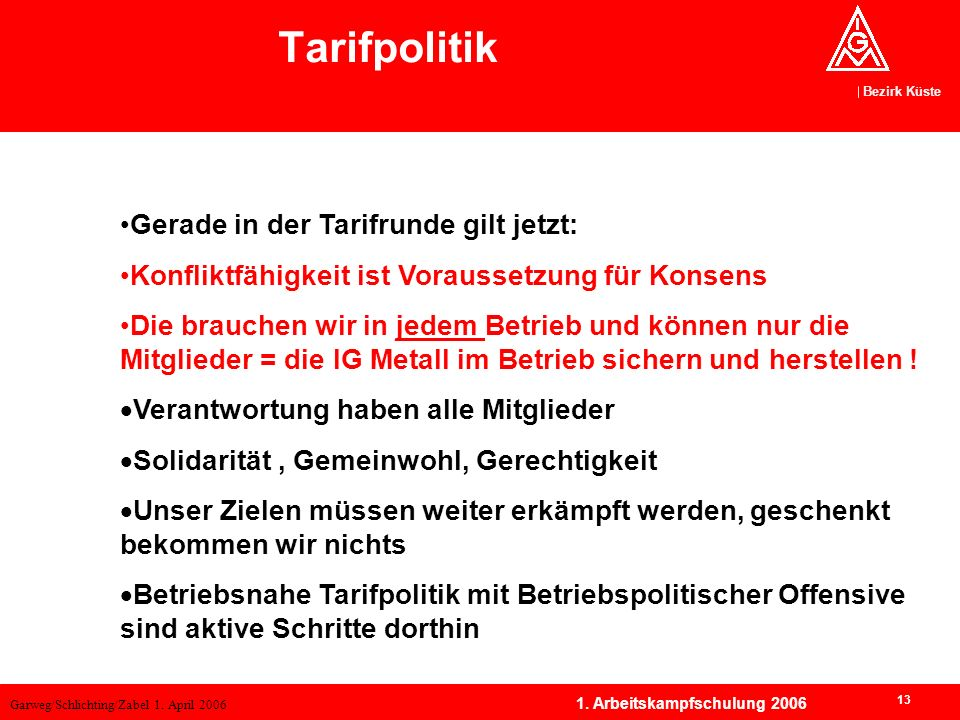 Tarifpolitik Tarifpolitik Gerade in der Tarifrunde gilt jetzt: