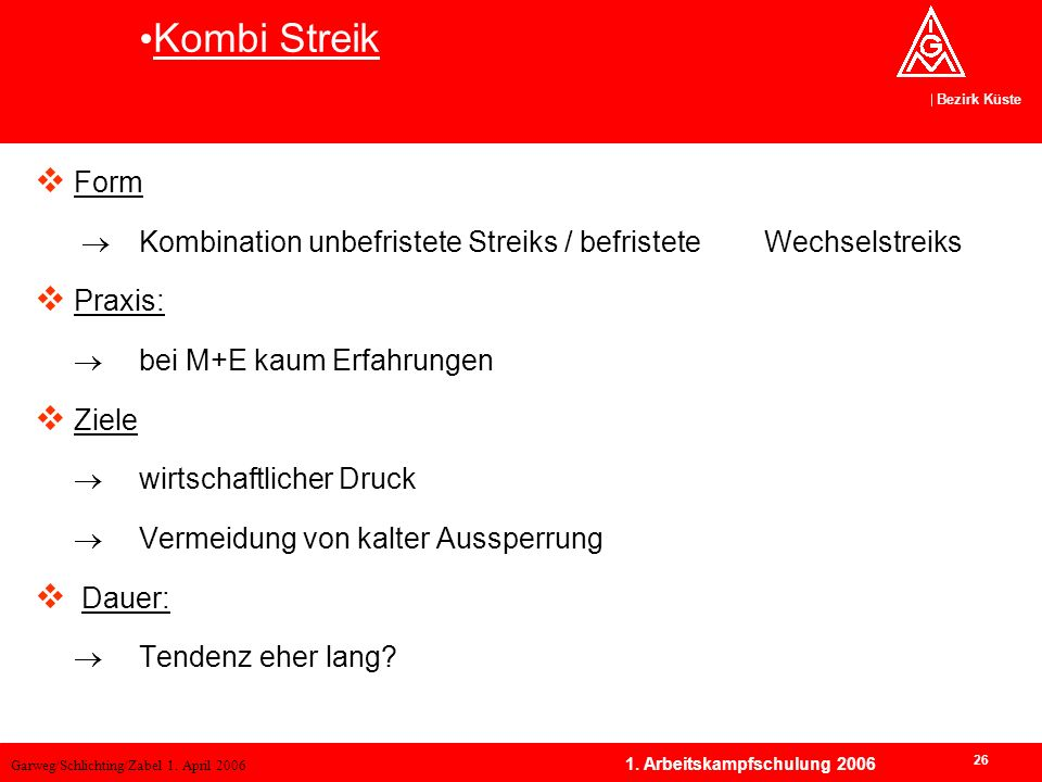 Kombi Streik Form.  Kombination unbefristete Streiks / befristete Wechselstreiks. Praxis:  bei M+E kaum Erfahrungen.