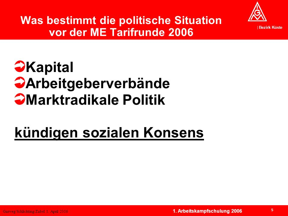 Was bestimmt die politische Situation vor der ME Tarifrunde 2006