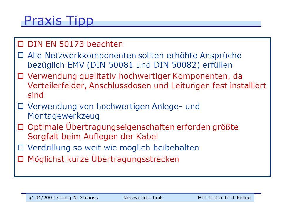 Praxis Tipp DIN EN 50173 beachten