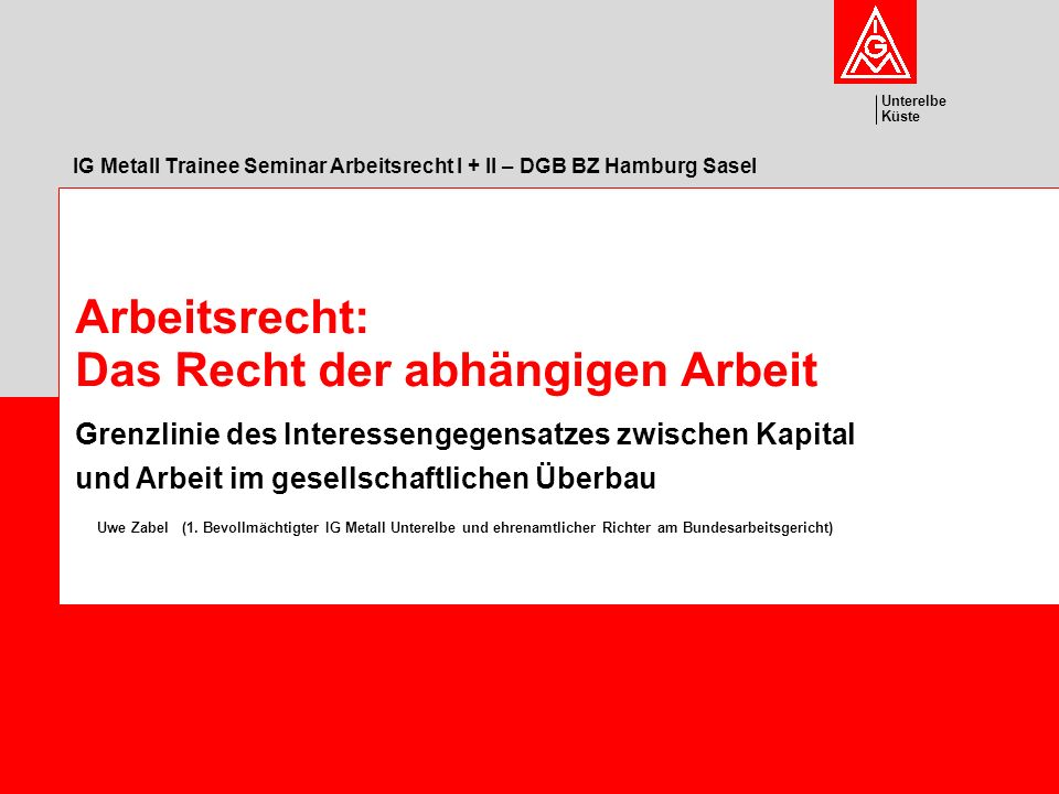 IG Metall Trainee Seminar Arbeitsrecht I + II – DGB BZ Hamburg Sasel
