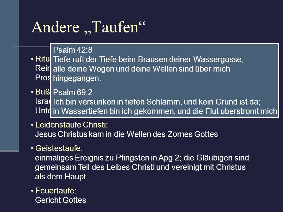 "Andere ""Taufen Psalm 42:8"