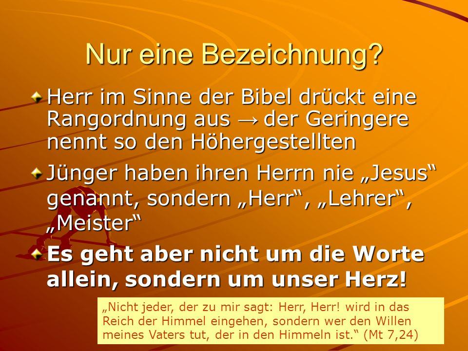 Nur eine Bezeichnung Herr im Sinne der Bibel drückt eine Rangordnung aus → der Geringere nennt so den Höhergestellten.