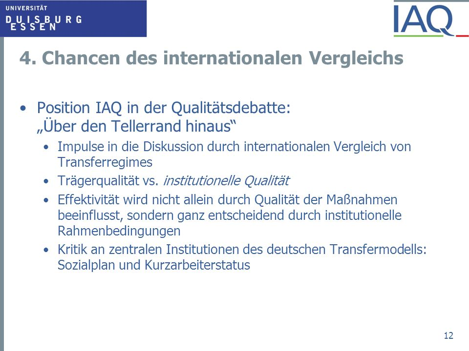 4. Chancen des internationalen Vergleichs
