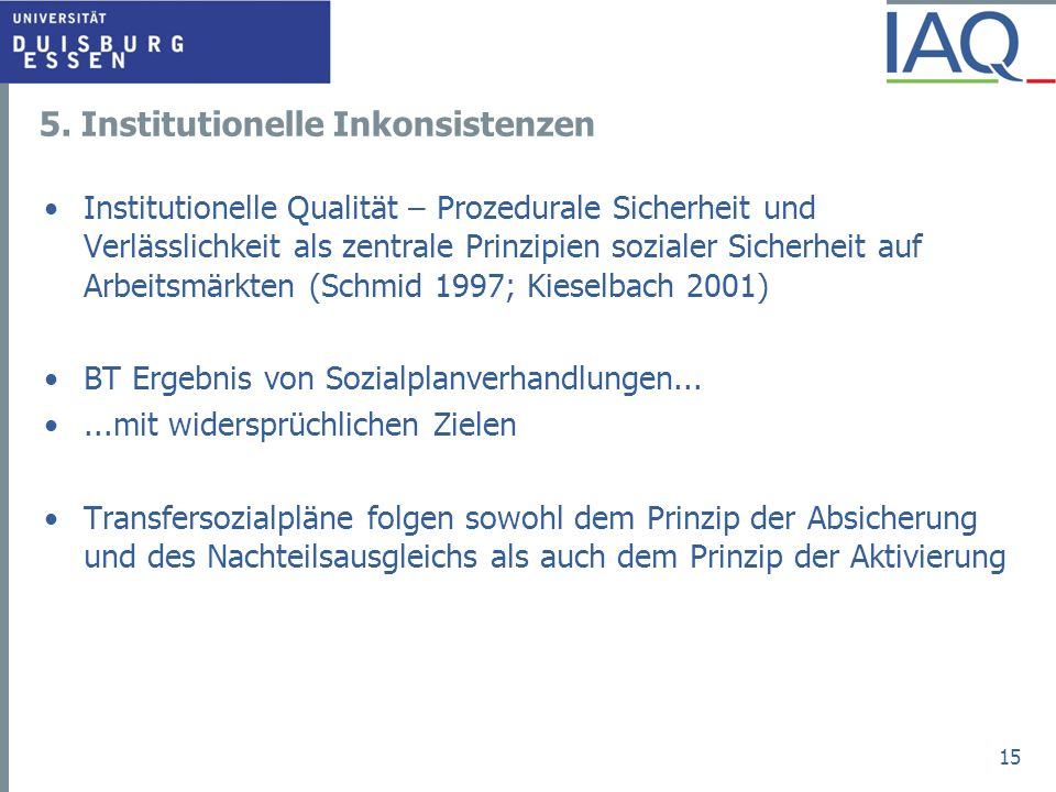 5. Institutionelle Inkonsistenzen