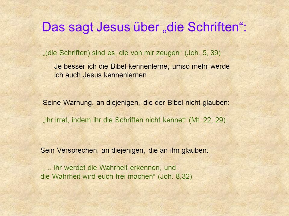 """Das sagt Jesus über """"die Schriften :"""