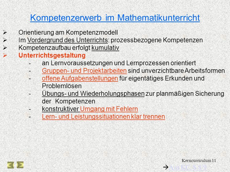 Kompetenzerwerb im Mathematikunterricht