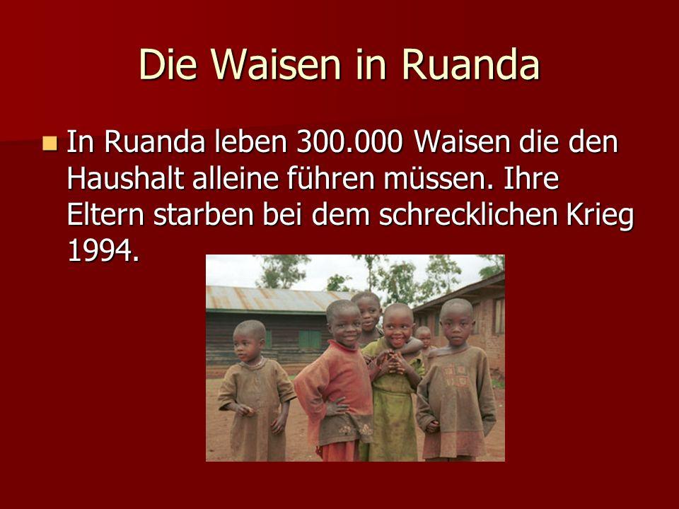 Die Waisen in Ruanda In Ruanda leben 300.000 Waisen die den Haushalt alleine führen müssen.
