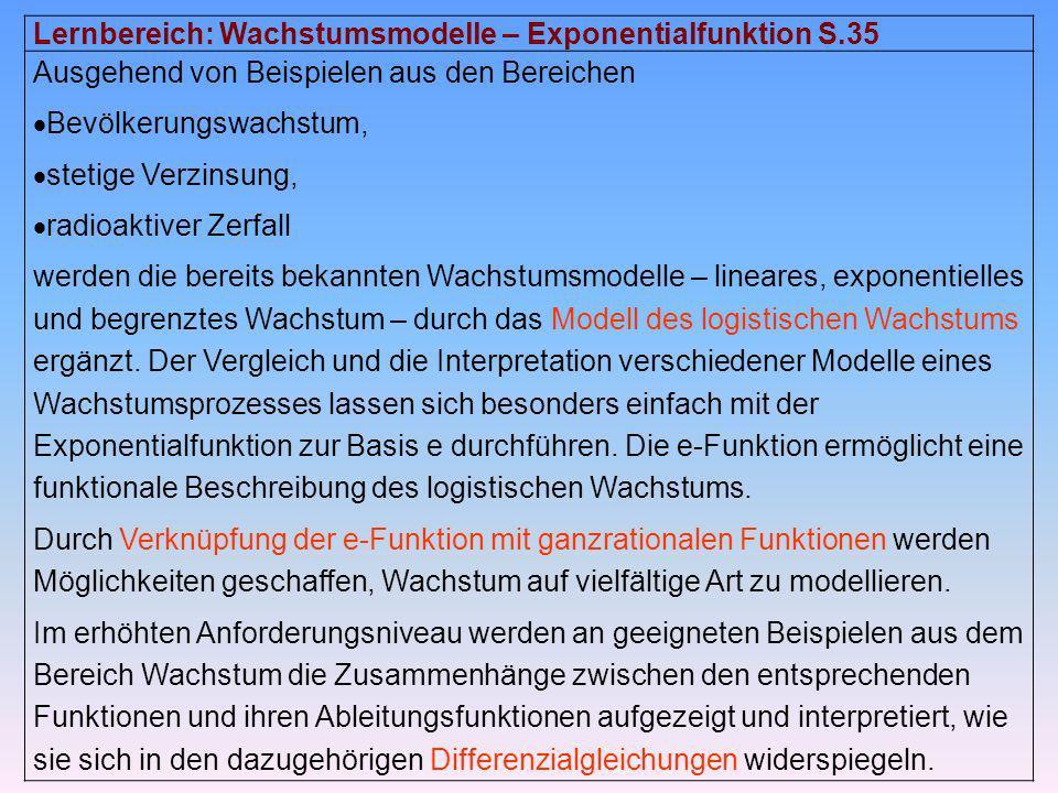 Lernbereich: Wachstumsmodelle – Exponentialfunktion S.35